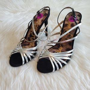 Sam Edelman Silver Strappy Harlette Stiletto Heels
